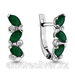 Серебряные серьги с агатом зеленым и фианитом   Aquamarine 4415809