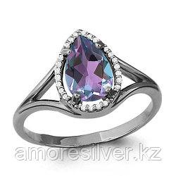 Серебряное кольцо с алекситом и фианитом    Aquamarine 6539125А размеры - 17,5
