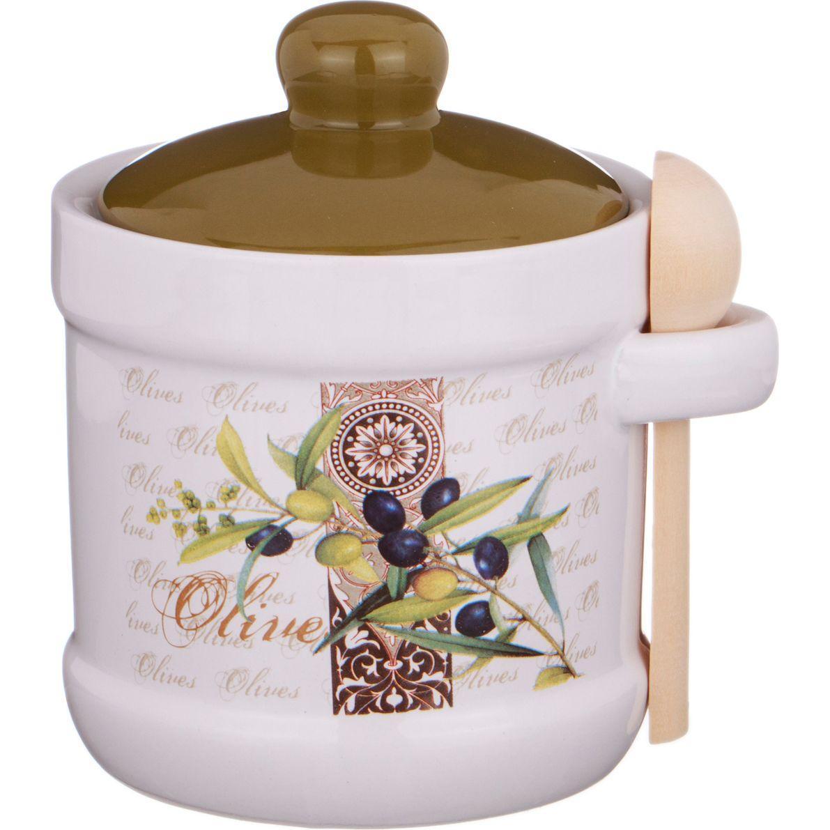 Сахарница с ложкой Agness «Оливки» (13х11х12 см)