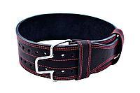 Пояс для пауэрлифтинга со скобой кожаный 2 слоя 10 см размер M (70-90 см), фото 1