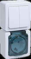 Блок вертикальный выкл 2кл + розетка 1м с з/к о/у IP54 ГЕРМЕС PLUS (кл.бел./кр.дым) БВб-22-32-ГПБд