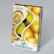 Свечи чайные в гильзе ароматизир. Лимон 12гр.,  парафин, 6 шт