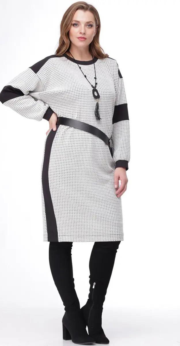 Платье Mali-4127, бело-черный, 58