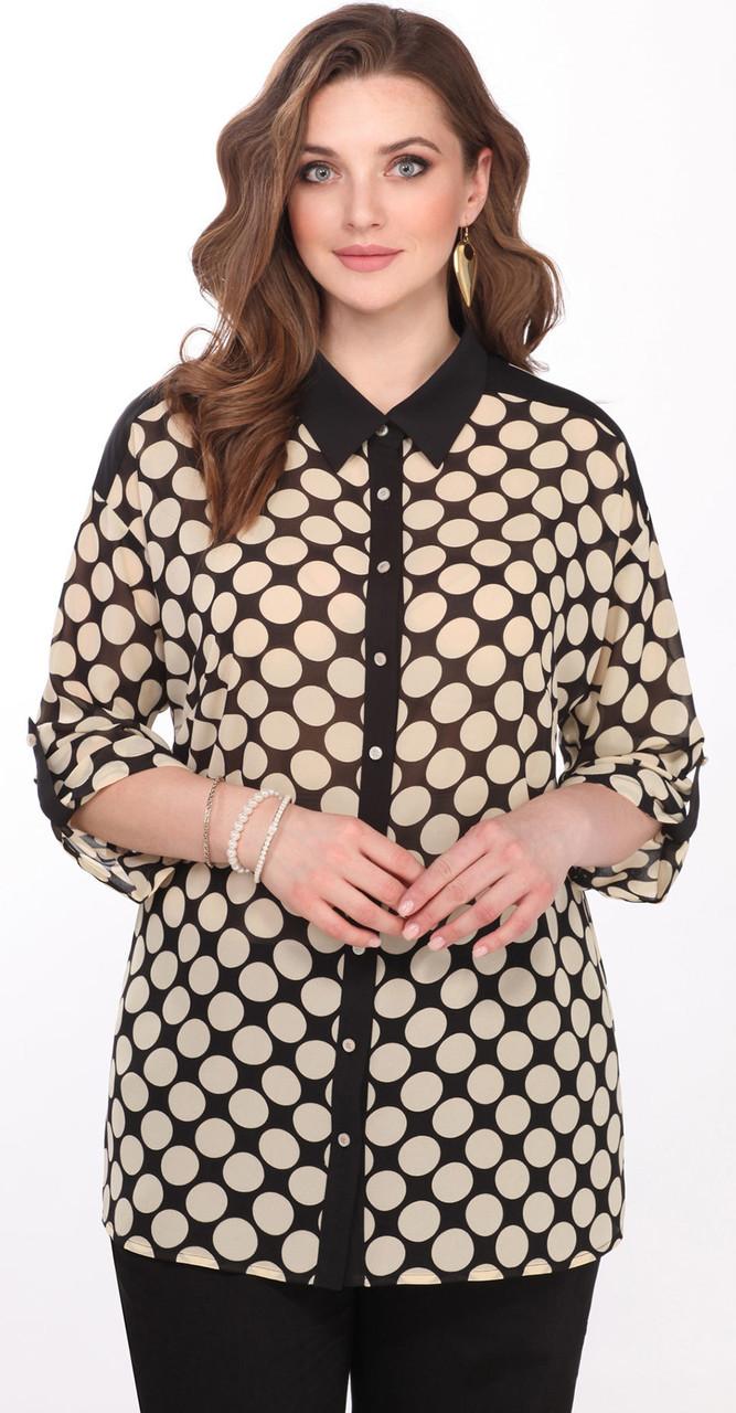 Блузка Matini-41330, черный с бежевым, 52