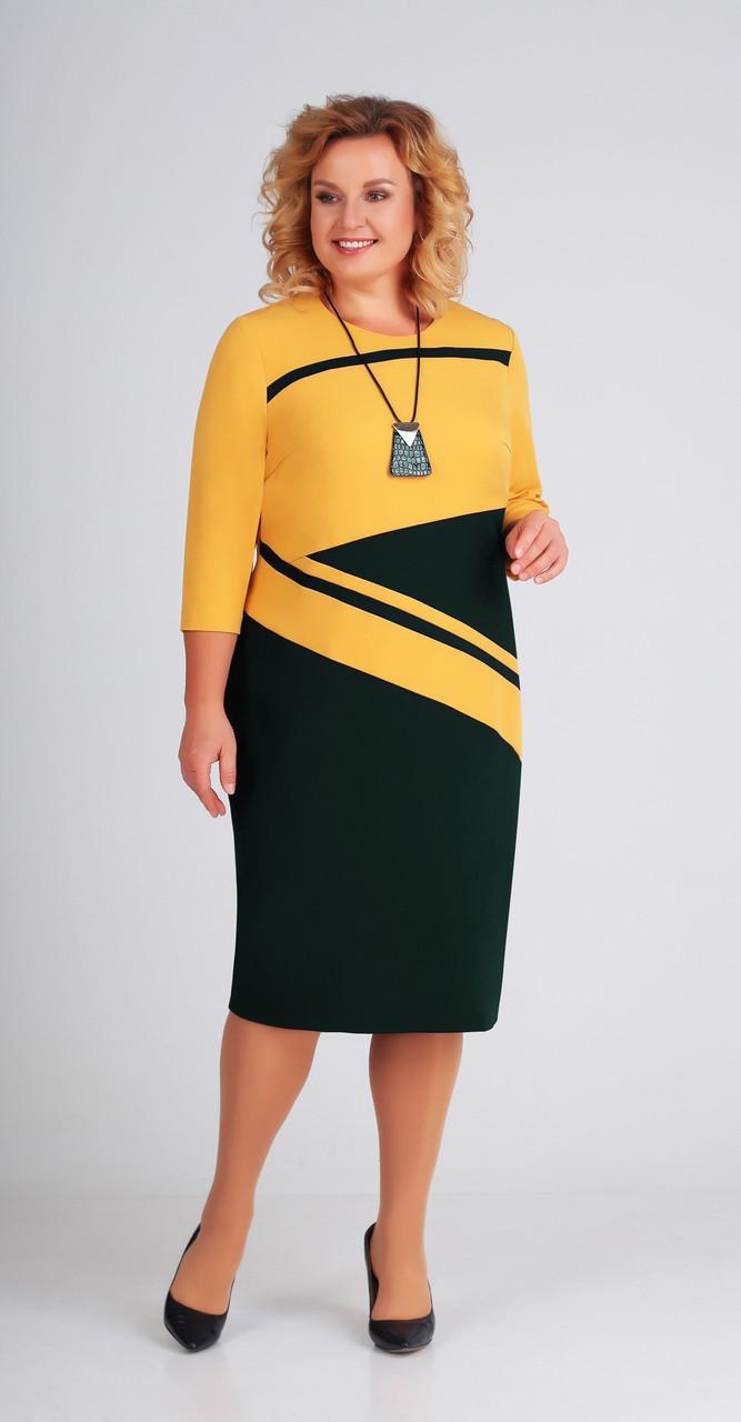 Платье Swallow-205, горчица-бирюза, 50