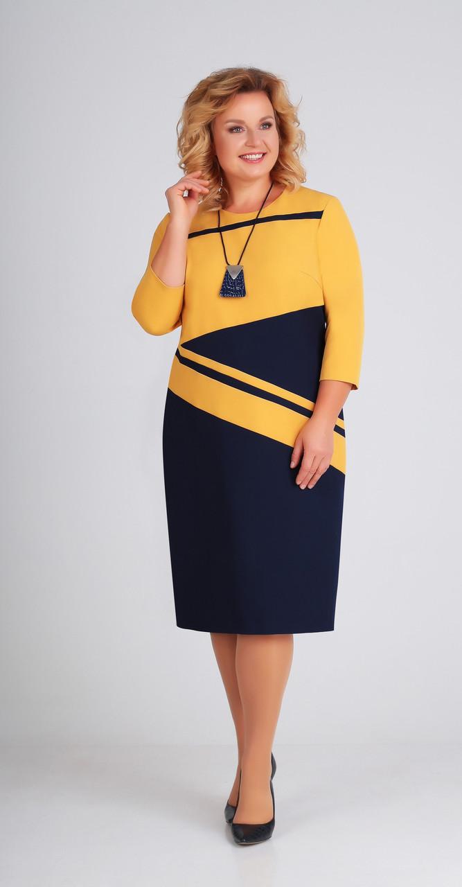 Платье Swallow-205/1, горчица-синий, 50