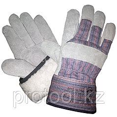 Перчатки спилковые, комбинированные, утепленные