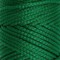 Шнур для вязания без сердечника 100 полиэфир, ширина 3мм 100м/210гр, (49 т. зеленый)