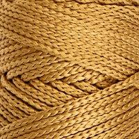 Шнур для вязания без сердечника 100 полиэфир, ширина 3мм 100м/210гр, (43 горчичный)