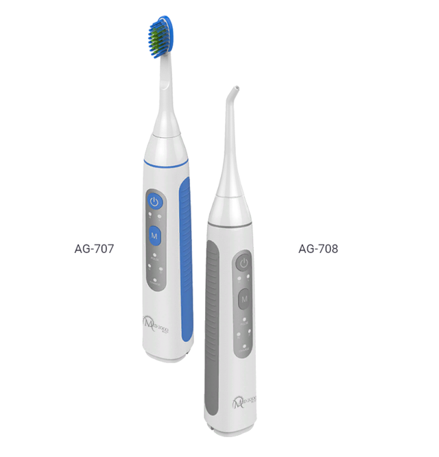 Ирригатор с функцией звуковой зубной щетки AG-707 (синий)