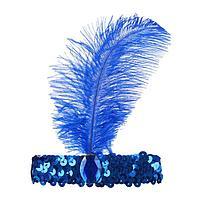 Повязка на голову с пером, цвет синий
