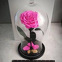 Роза в изогнутой колбе розовая 33 см.