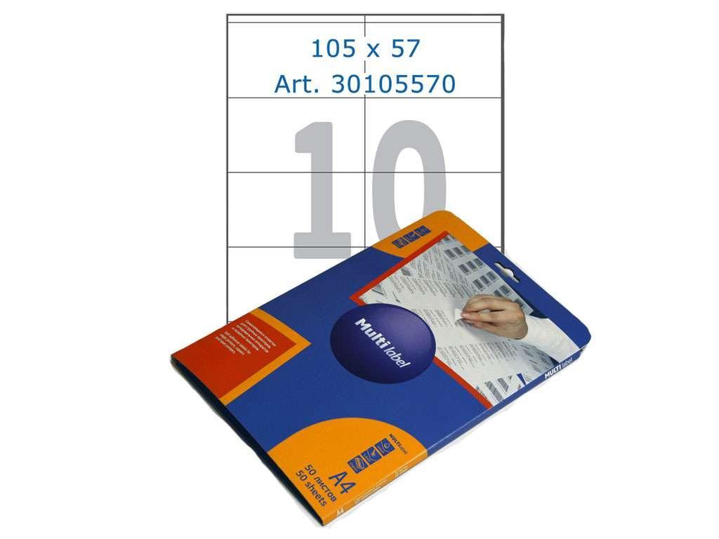 Этикетки самоклеящиеся Multilabel, А4, 105 х 57 мм., 10 шт/лист, 50 л.