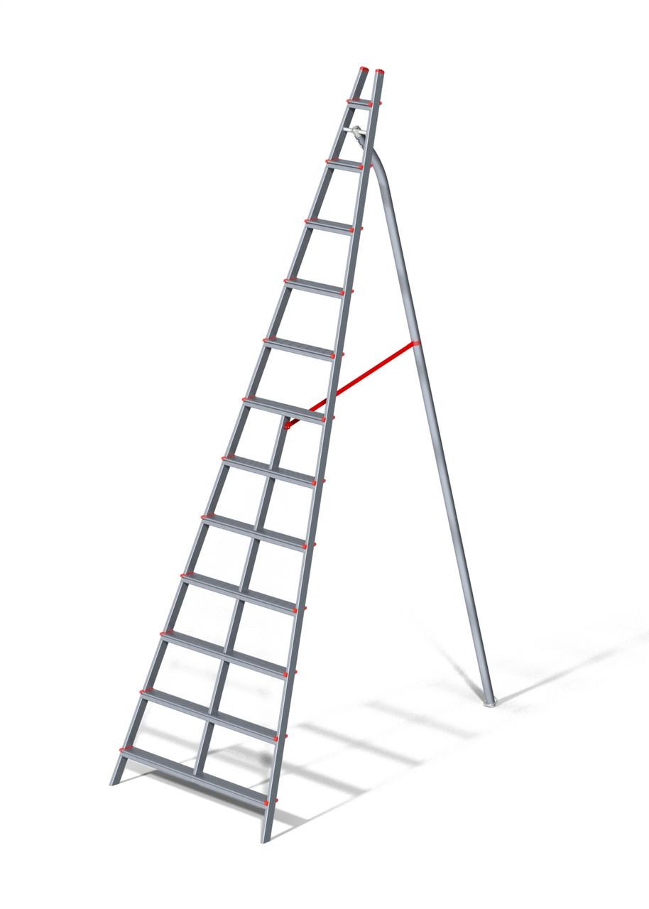 Стремянка алюминиевая садовая, 12 ступеней