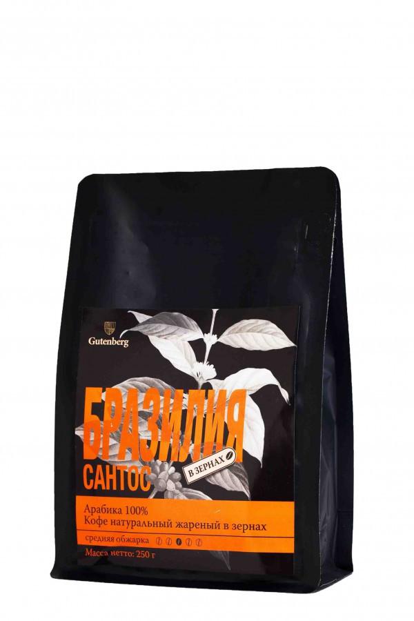 Кофе зерновой Бразилия Сантос 250гр.