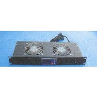 Блок вентиляторов переднего крепления с термостатом Toten SA.3002.0301, 2 вентилятора, 19, 1U, black