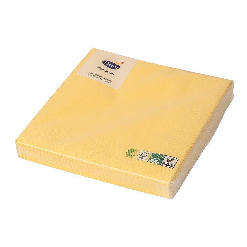 Салфетки 33х33см, 3 сл., жёлт., Бумага, 20 шт