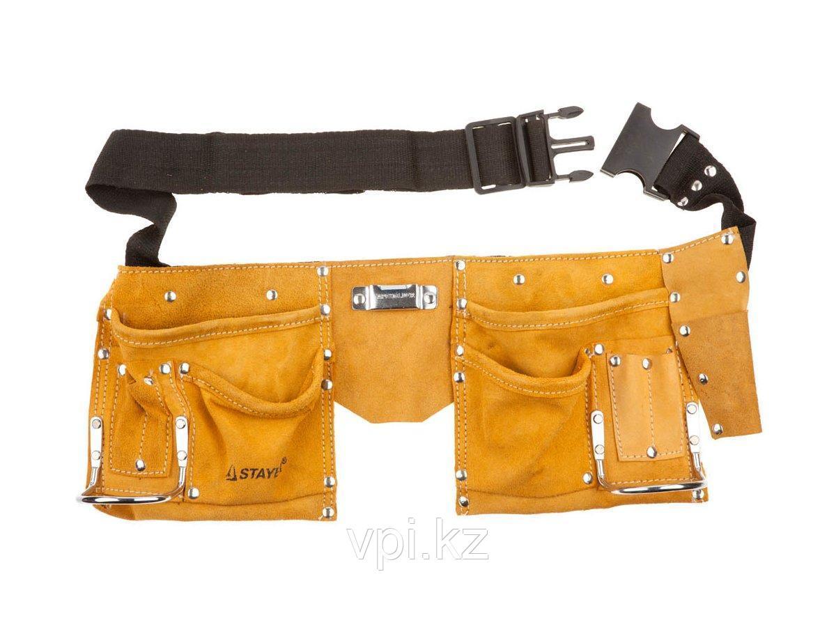 Пояс для инструмента кожаный, 10 карманов, 2 скобы, STAYER MASTER