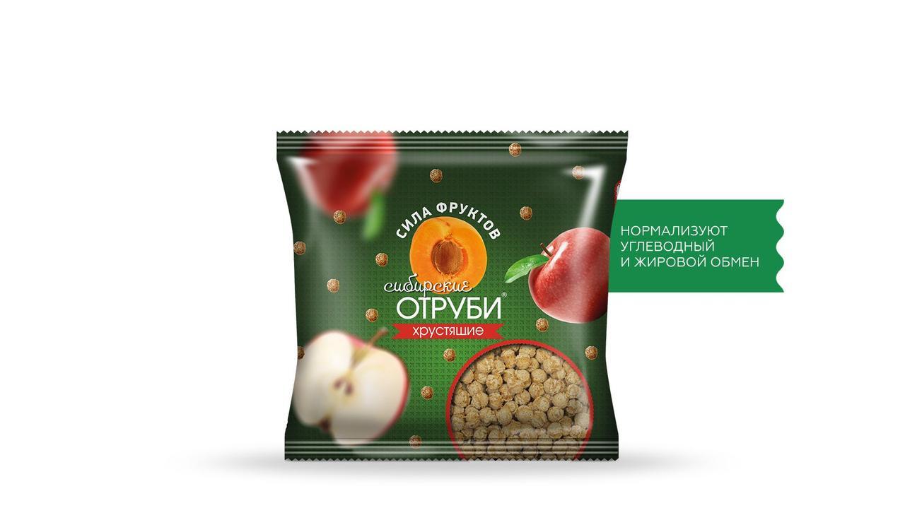 Отруби Сибирские, Сила фруктов, пакет 100 гр