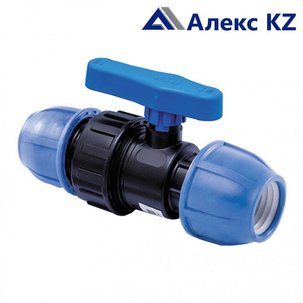 Кран шаровой компрессионный PN16 d 25 для ПЭ труб, РТП