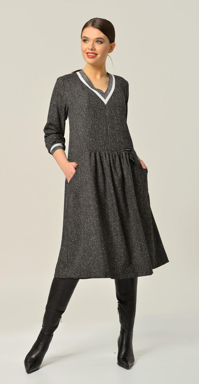 Платье Anna Majewska-А283 D, темно-серый, 48
