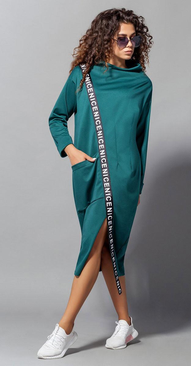 Платье Сч@стье-7021s-2, изумруд, 44