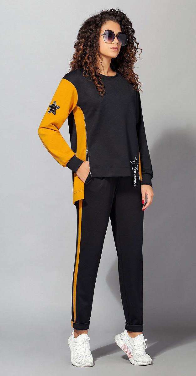 Спортивная одежда Сч@стье-7028, черный+горцича, 42