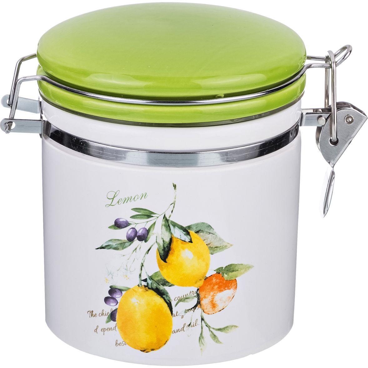 Банка для сыпучих продуктов с клипсой Lefard «Итальянские лимоны» (470 мл)