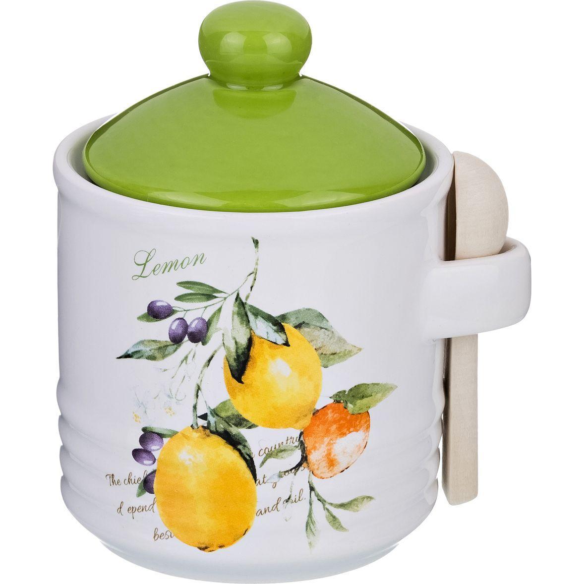 Банка для сыпучих продуктов с ложкой Lefard «Итальянские лимоны»