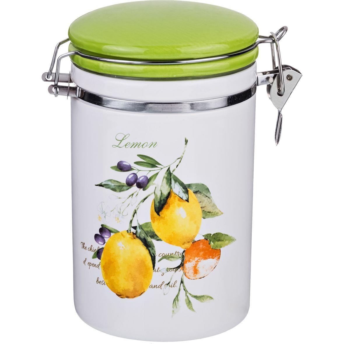 Банка для сыпучих продуктов с клипсой Lefard «Итальянские лимоны» (800 мл)