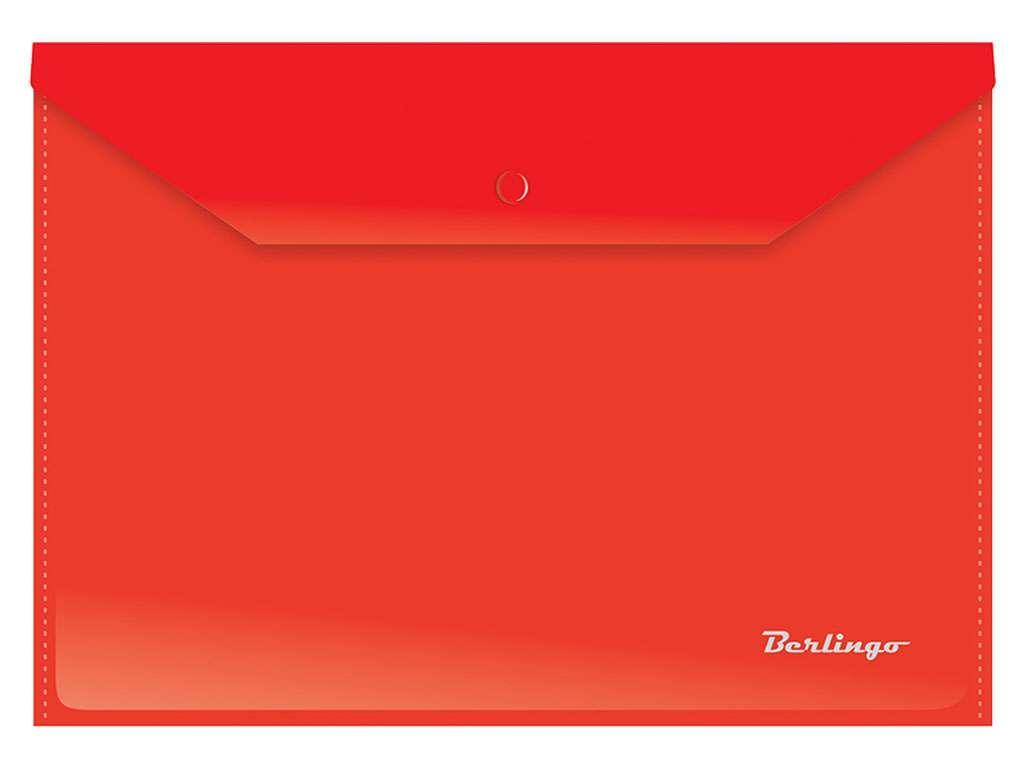 Папка-конверт на кнопке Berlingo, А4, 0,18 мм, красная