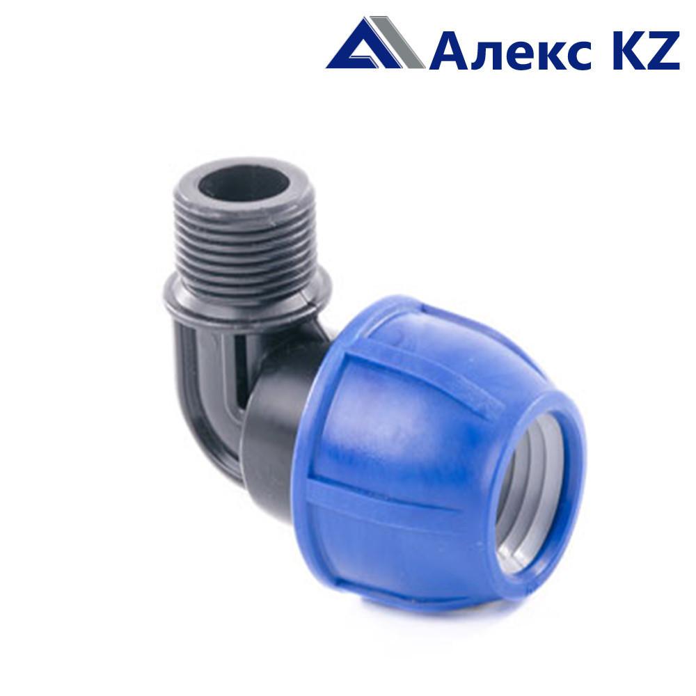 Отвод компрессионный наруж. резьба 25*1/2 PN 16 ПЭ/РТП