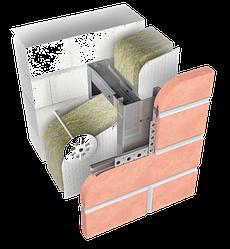Конструкция навесной фасадной системы с воздушным зазором СКЛ-СК-007 для облицовки клинкерной  плитки