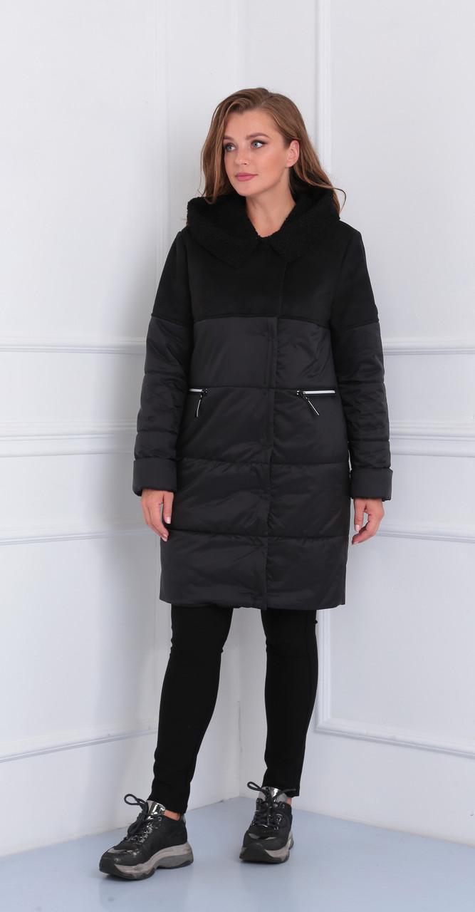 Пальто Диамант-1447, черный, 54