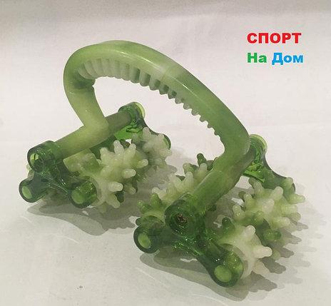 Роликовый ручной массажер для тела с контролем целлюлита (цвет зеленый), фото 2
