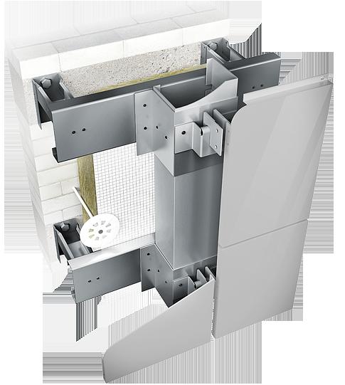 Конструкция навесной фасадной системы с воздушным зазором СЛМ-ОК-002 для облицовки металлокассетами.