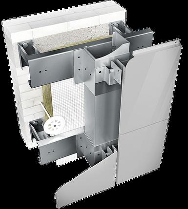Конструкция навесной фасадной системы с воздушным зазором СЛМ-ОК-002 для облицовки металлокассетами., фото 2