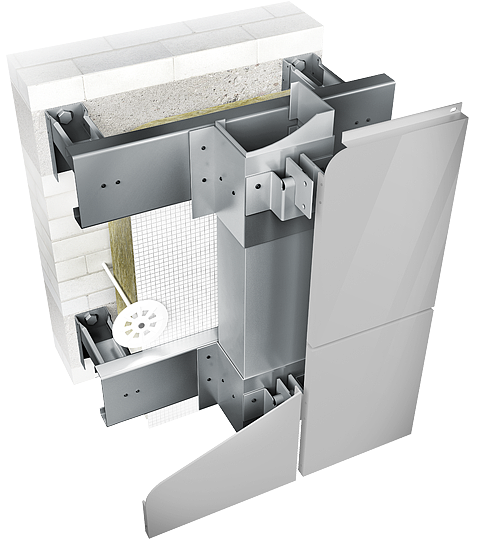 Конструкция навесной фасадной системы с воздушным зазором СЛМ-ОК-002 для облицовки металлокассетами в межэтажн