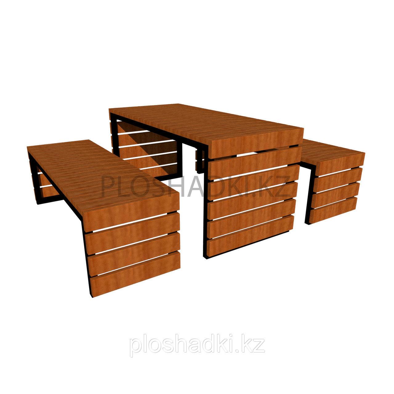 Лавочка деревянная со столом