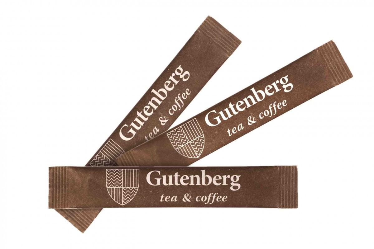 Сахар порционный тростниковый (коричневый) в стике Gutenberg (фасовка по 5 г) (1000 гр)