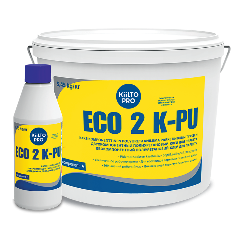 Kiilto Eco 2 K-PU 5,45кг. Полиуретановый 2-х компонентный клей для паркета