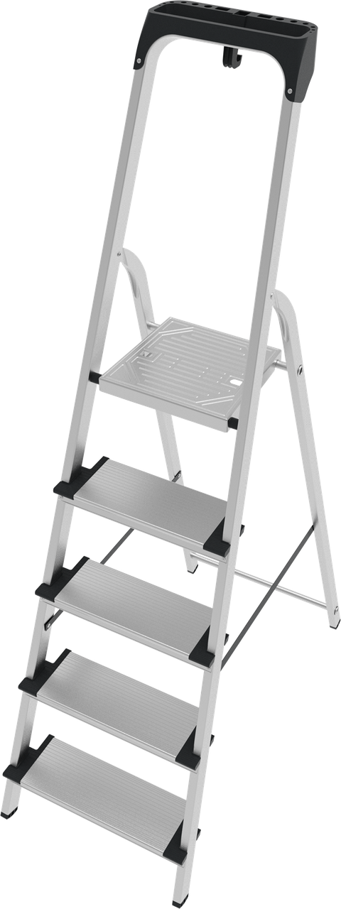 Стремянка алюминиевая с лотком органайзером 5 ступеней