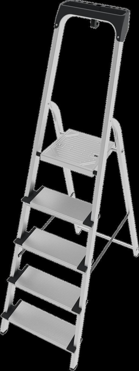 Стремянка алюминиевая, широкая ступень 130 мм с лотком органайзером, 6 ступеней