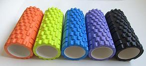 Массажный валик (ролик) для фитнеса и йоги 62 см (цвет фиолетовый), фото 2