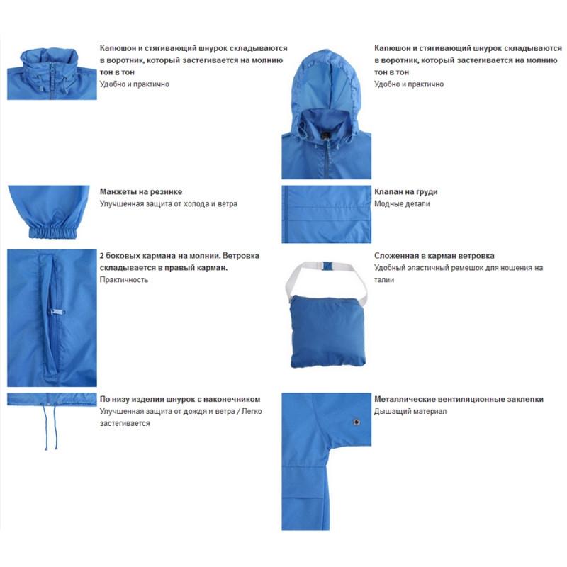 Ветровка водоотталкивающая унисекс SURF, Темно-синий, 2XL, 732000.318 2XL - фото 2