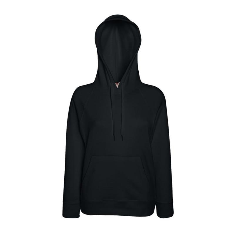 Толстовка женская без начеса LIGHTWEIGH HOODED SWEAT 240, Черный, S, 621480.36 S