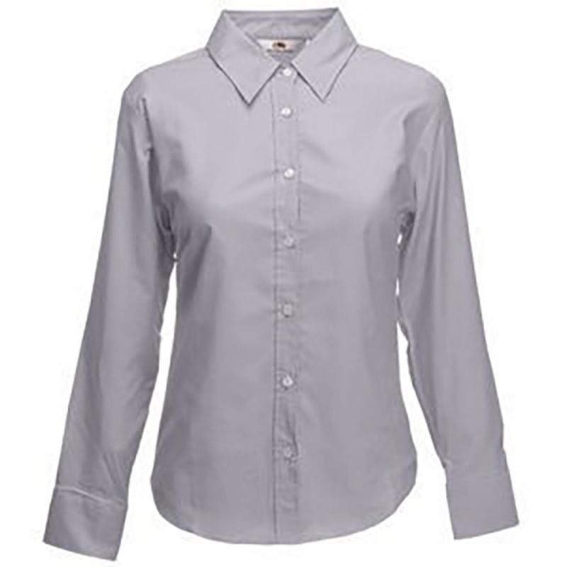 Рубашка женская LONG SLEEVE OXFORD SHIRT LADY-FIT 135, Серый, L, 650020.OC L