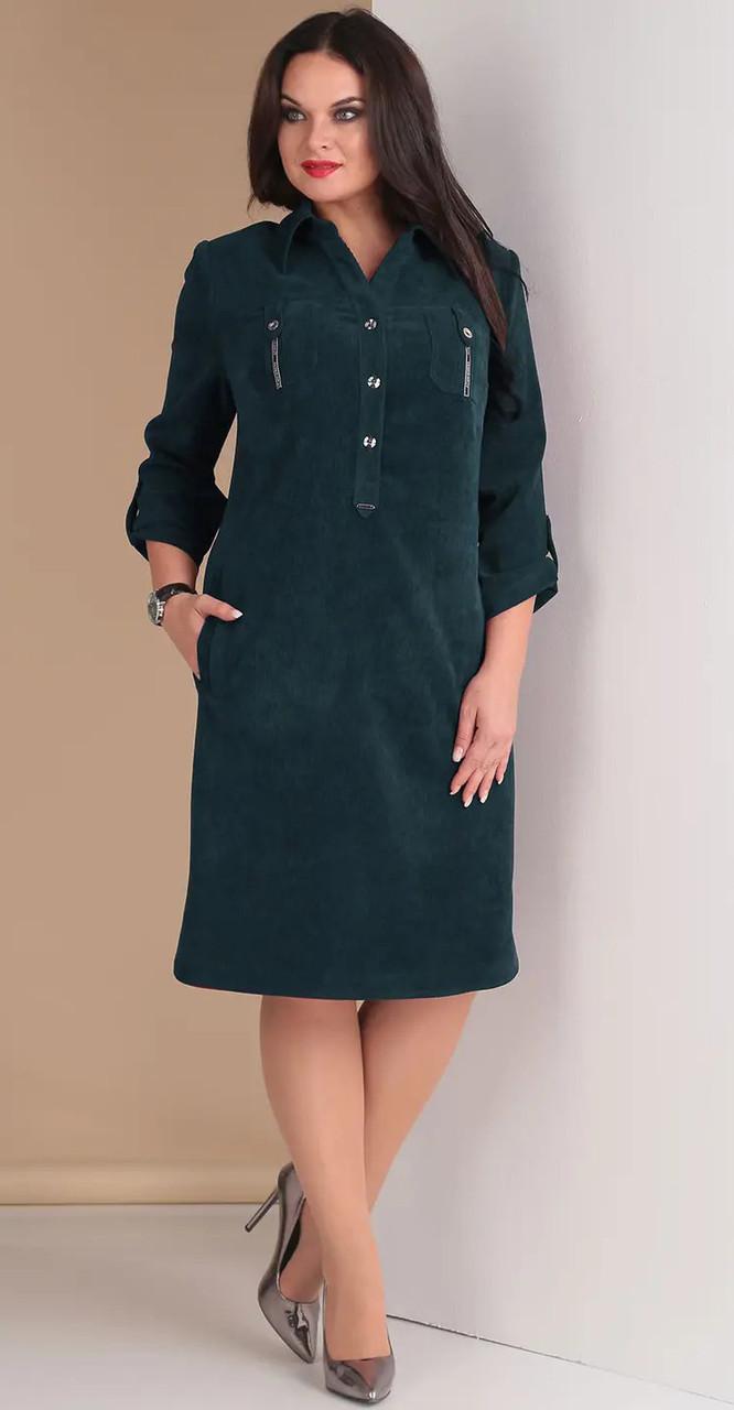 Платье Hit-258 Тэнси, темная бирюза, 48