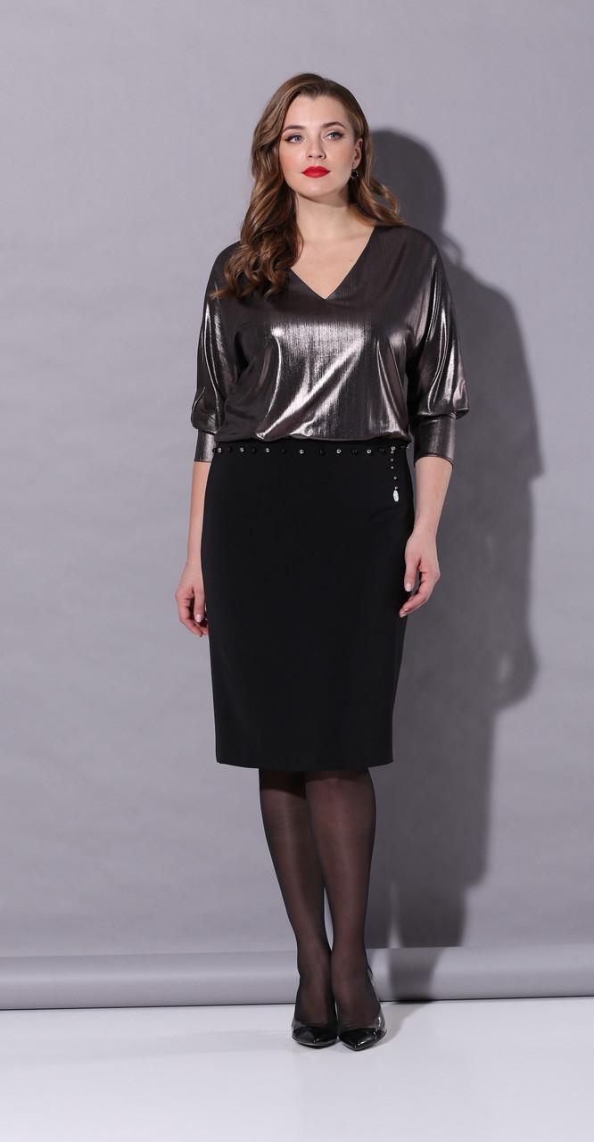 Платье КаринаДелюкс-В-230, чёрный+графит, 52