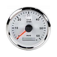 Тахометр 0-6000 об/мин со счетчиком моточасов делитель 1-10, белый циферблат, нержавеющий ободок